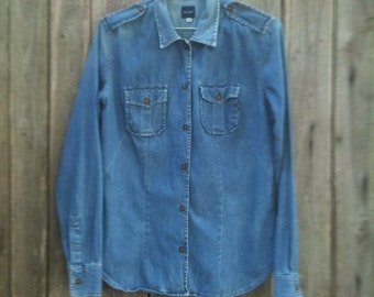 Shirt Jeans/ Vintage/ 90s/ woman/ denim 100% cotton/ size M/ Made in Italy