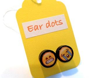 Cute Stud Earrings - Black - Wooden Earrings - Fun Emoji Studs