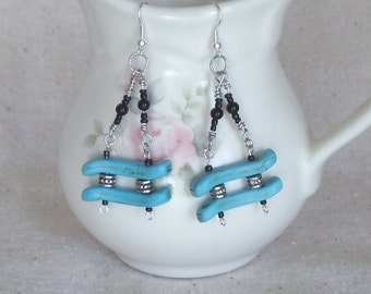 """Unique Turquoise Southwestern,Handmade Pierced Silver 3""""Dangle Earrings with Black Glass Pearl Accents,#E04"""