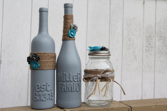 Personalized Wine Bottles For Wedding Gift : Custom Wedding Gift Wedding Wine Bottles Blue and Gray Wedding