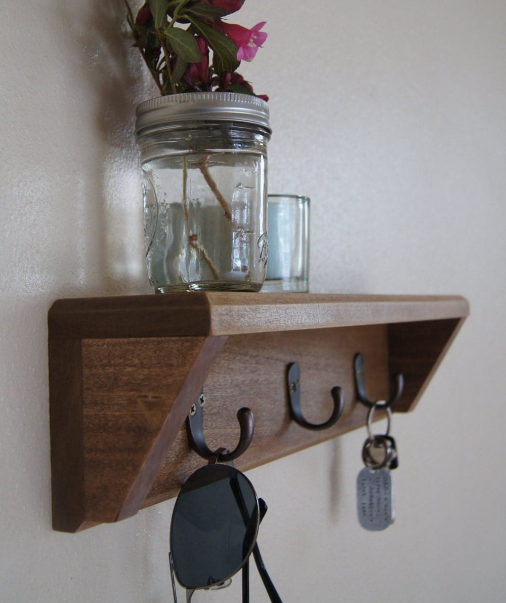 wood entryway organizer shelf with hooks by midnightwoodworks. Black Bedroom Furniture Sets. Home Design Ideas