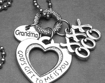 GRANDMA God's Gift To Me Is You Heart Pendant Hugs & Kisses Charm Necklace, Inspirational Jewelry, Christian Gift, Grandmother Gift