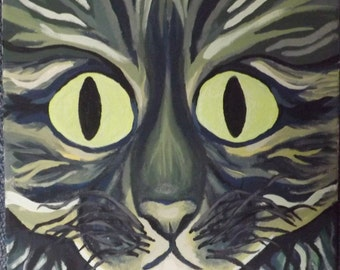 cat painting wild looking with glow in the dark eyes 12x12