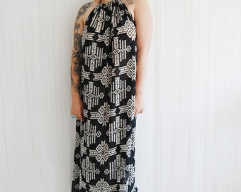 Aztec bohemian halter neck backless maxi dress