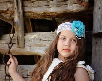 Turquoise Flower Headband, Flower Girl Headband, Turquoise Bridal Headband, White Lace Headband, Wedding Headband, Blue Wedding, Blue Rose