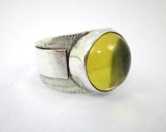 Men's Amber Ring, Yellow Amber Ring, Men's Silver Ring, Amber Cabochon Ring