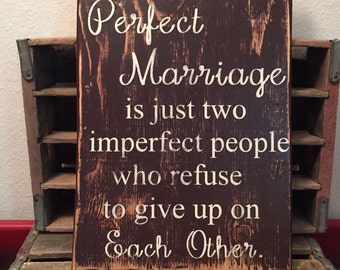 Wall Sign, A Perfect Marriage Sign, Wooden Sign, Rustic Sign, Handmade Sign, Brown Painted Marriage Sign, Wall Hanging Marriage Sign
