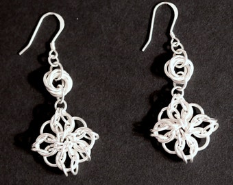 Silver Chainmail Flower Earrings
