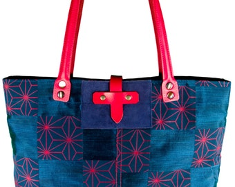Blue and red silk shoulder bag / Indigo red flowers