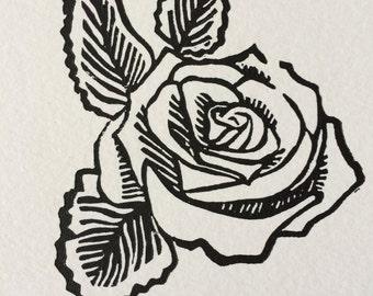 Rose - Linoleum Print