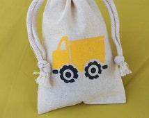 Truck Favor Bags: Muslin Bags With Construction Design, Construction Goody Bag, Treat Bag, Loot Bag