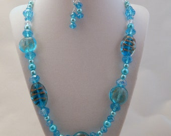 Sky Blue Crystal Necklace and Earring Set