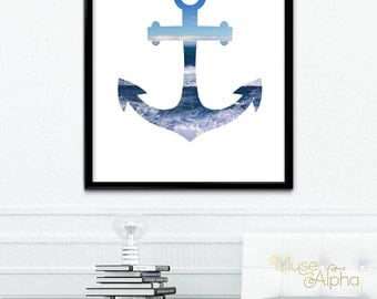 Anchor Decor, Anchor Wall Decor, Anchor Digital Print, Anchor Print, 8x10  Printable Art, 11x14 Printable, 12x16 Printable, 24x30 Printable