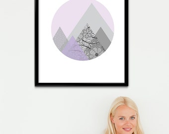 Printable Lilac Nursery Art, Lavender Mountain Print, Light Purple Geometric Printable Art, Purple Home Decor, Lilac Home Art, Geometry Art