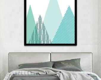 Modern Geometric Printable Mint Mountain Art, Mint Geometric Mountain Print, Mint Print, Mint Triangle Print, Geometric Triangles Print Art