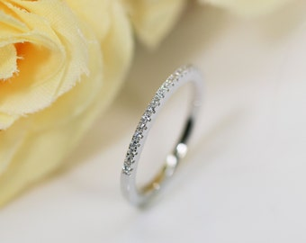 1.6mm Sterling Silver, Eternity Ring, Half Eternity Band, Engagement Ring, Wedding Band, Thin CZ ring band, Micro pave, Matching Band Ring