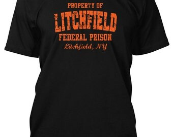 Litchfield Federal Prison Orange Mens Black T-Shirt