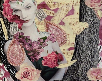 """Mixed Media Collage Art, """"Sing Willow"""""""