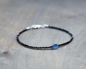 Delicate Black Spinel Bracelet with Kyanite, Tiny Black Gemstone Skinny Stacking Bracelet, Blue Kyanite Jewelry, Black Spinel Jewelry