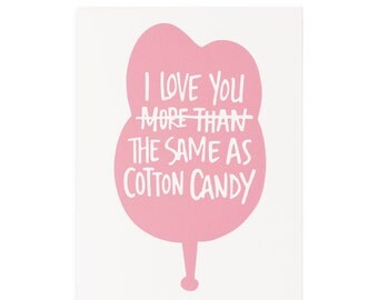 Cotton Candy, Letterpress Card, Cotton Candy Letterpress Greeting Card, I Love You Card, Blank Card
