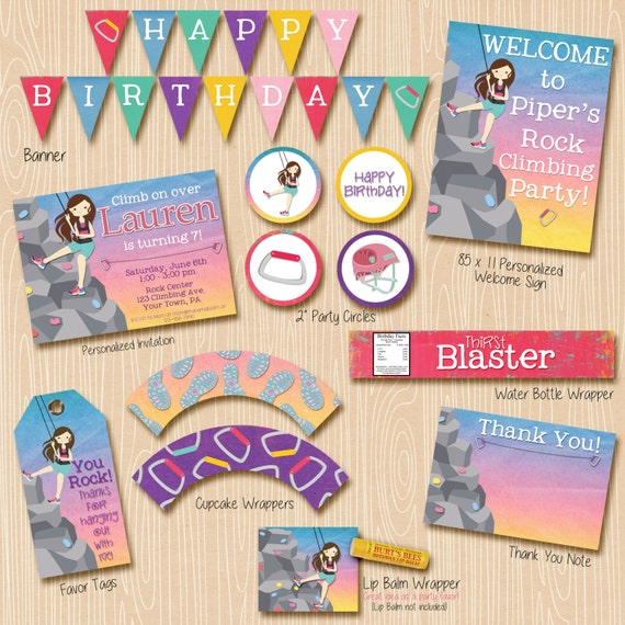 Rock Climbing Party Invitation & Printable Decorations. Brunette climber. Invitation included. Everything you need!