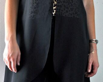 Vintage Black Sheer Crochet/Lace/ Long Vest. 1990's Grunge Long Black Crochet/Lace Vest.