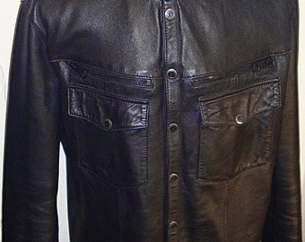 Black Star - men's leather shirt (Free shipping)