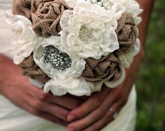 10 Piece Burlap Bouquet Set | Burlap Bridal Party Set | Wedding Bouquet Set | Rustic Fabric Bouquet | Burlap Bouquet Set | Brooch Bouquet