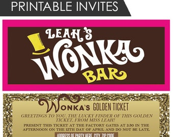 Willy Wonka Bar Wrapper & Golden Ticket Invitation - Customized - Printable