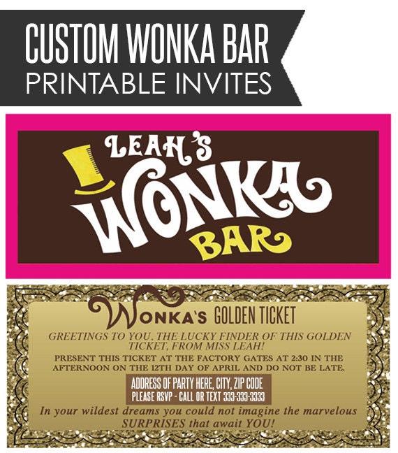 willy wonka bar wrapper golden ticket invitation