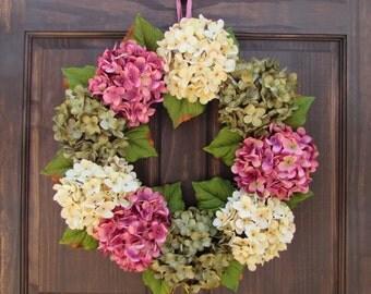Spring Wreath, Front Door Wreath for Spring, Summer Wreath, Hydrangea Wreath, Spring Door Decor, Green Cream & Pink Hydrangea Wreath
