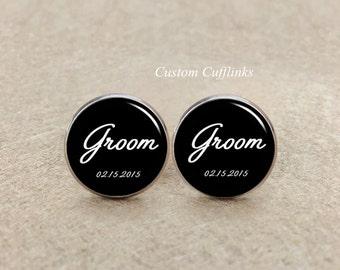 Groom cufflinks, Custom wedding cufflinks, Silver Cufflink, Custom Groom Cufflinks, Custom men cufflinks, Mens Cufflinks, Groom Cufflink