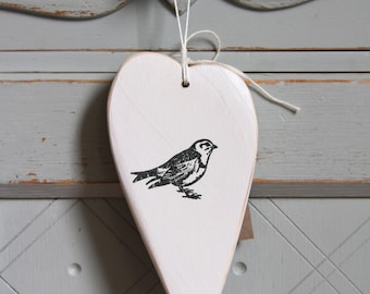 Wooden Heart with Sparrow (Free Gift Wrap & Free Shipping in the UK)