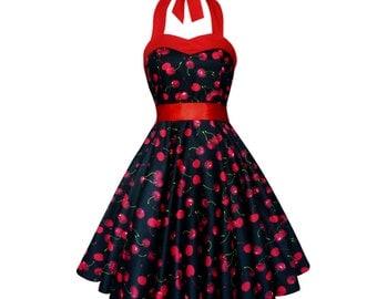 Cherry Dress Corset Dress Cherries Black Dress Rockabilly Dress Pin up Dress Plus Size Dress Goth Swing Dress Thanksgiving Dress Party Dress
