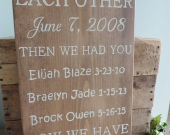 First We Had Each Other Wooden Sign, Hand Painted, Family Sign, Home Decor, Personalized Family Sign, Custom Made Sign