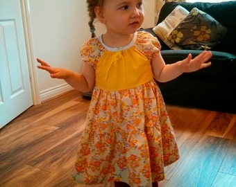 Summer dresses for ages 3, 4, 5 & 8 year olds; yellow floral ages 4, 5yrs - blue stripe 4, 8yrs - green stripe 5yrs and patterned skirt 3yrs
