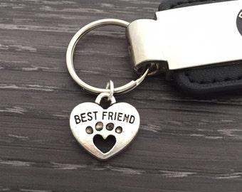 Best Friend Paw Keychain, Dog Paw Keychain, Cat Paw Key Ring, Pet Mascot Keychain, Custom Dog Jewelry,  Purse Charm, Pet Lover Gift