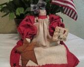 Primitive Patriotic Raggedy Ann Doll with Americana Pin