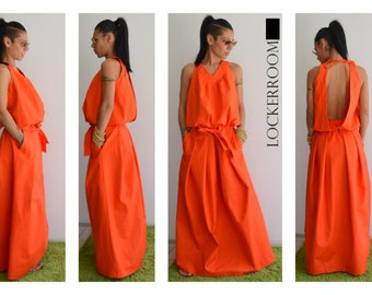 Maxi Dress, Plus Size Maxi Dress, Backless dress, Wedding Guest Dress, Cotton Summer Dress, Long dress, Summer Dress Women, Open Back Dress