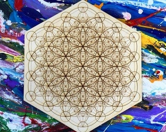 Laser Cut Complete Metatron's Cube with the Flower of Life Expressed Sacred Tribe Customizable
