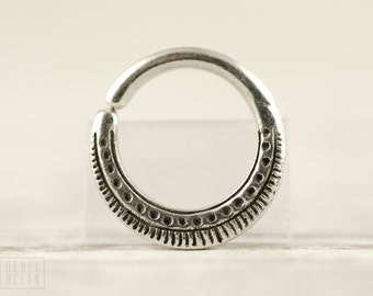 Septum Ring Nose Ring Body Jewelry Sterling Silver Bohemian Fashion Indian Style 14g 16g - SE023R SS T1