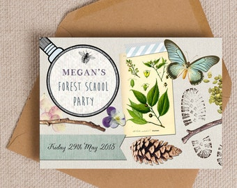 Nature Trail / Forest School Party Invitation Cards