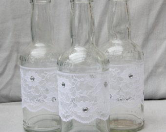 Lace and Crystal Upcycled Bottle Vase