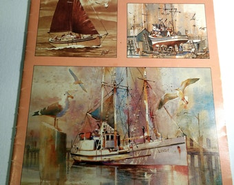 How to Art Book to Draw and Paint Boats Step by Step Illustrations Beach Cottage Decor Nautical Decor