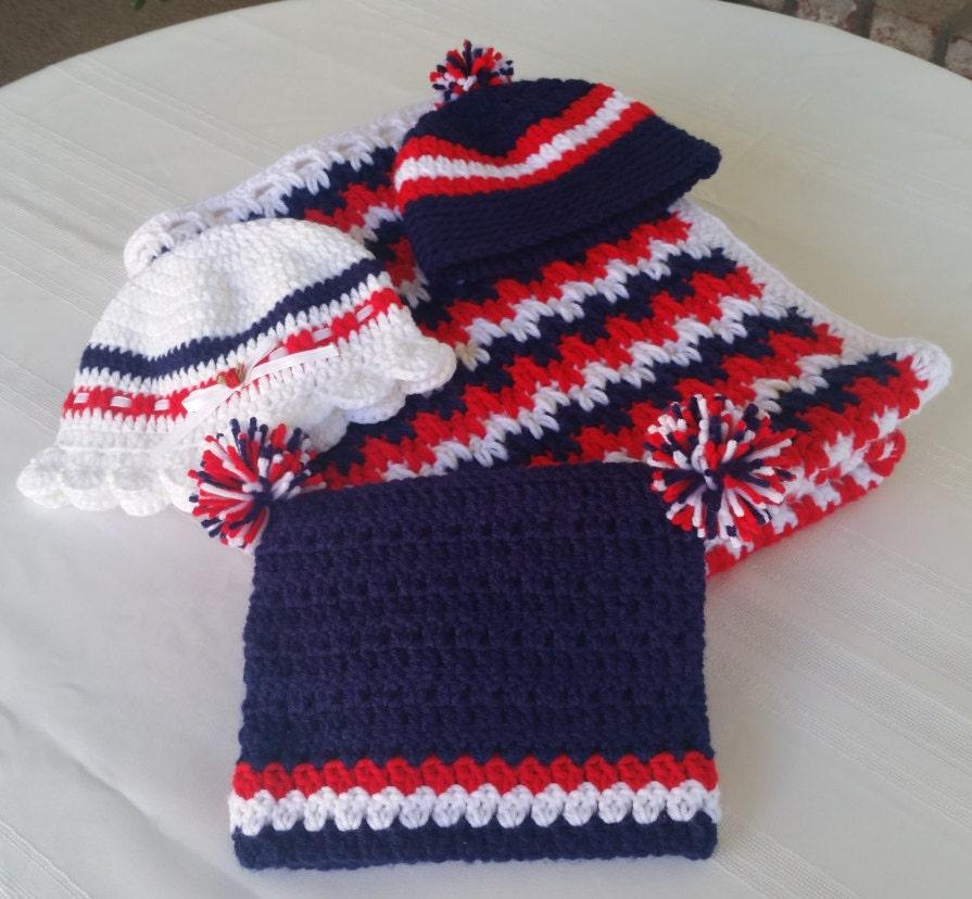 nautical blanketNE patriots blanket and hat setcrochet baby