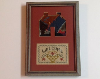 Small Vintage Framed Welcome Cross Stitch with Antique Crazy Quilt Piece