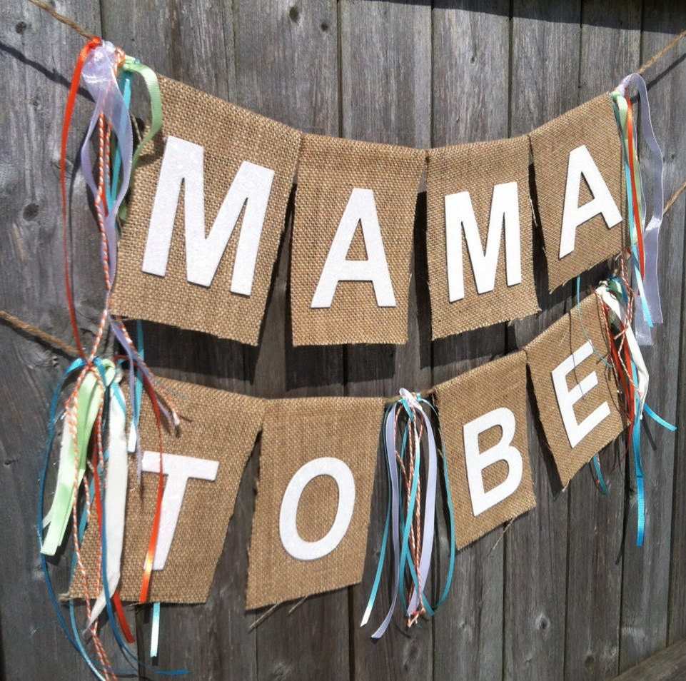 mama to be burlap baby shower banner