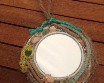 Miroir rond corde nautical miroir miroir de par hippiefishbeachart - Miroir rond avec corde ...