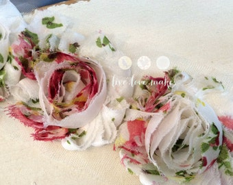 2.5 Pink-Hot Pink-Red-White-Floral Print-Chiffon-Shabby-flower-trim-Frayed-Shabby Chic-Rosette-Rose-DIY-Headband-Hairband-1/2 yard