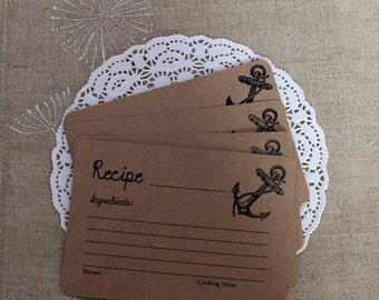 Set of 24 Recipe Cards, Rustic Bridal Shower Gift, 4 x 6 Recipe Cards, Nautical Themed Bridal Shower